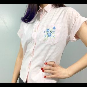 Vintage | Pink Striped Blue Floral Button Down Top